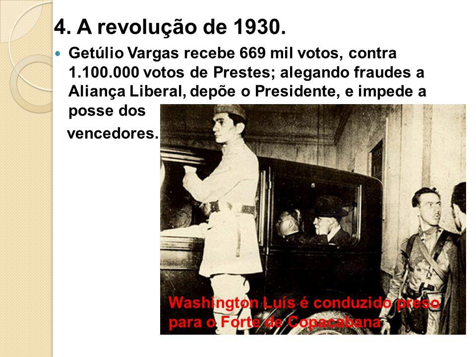 4. A revolução de 1930. Getúlio Vargas recebe 669 mil votos, contra 1.100.000 votos de Prestes; alegando fraudes a Aliança Liberal, depõe o Presidente