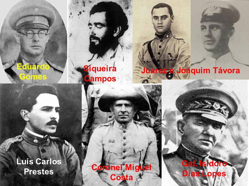 Eduardo Gomes Siqueira Campos Juarez e Joaquim Távora Luís Carlos Prestes Coronel Miguel Costa Gal. Isidoro Dias Lopes