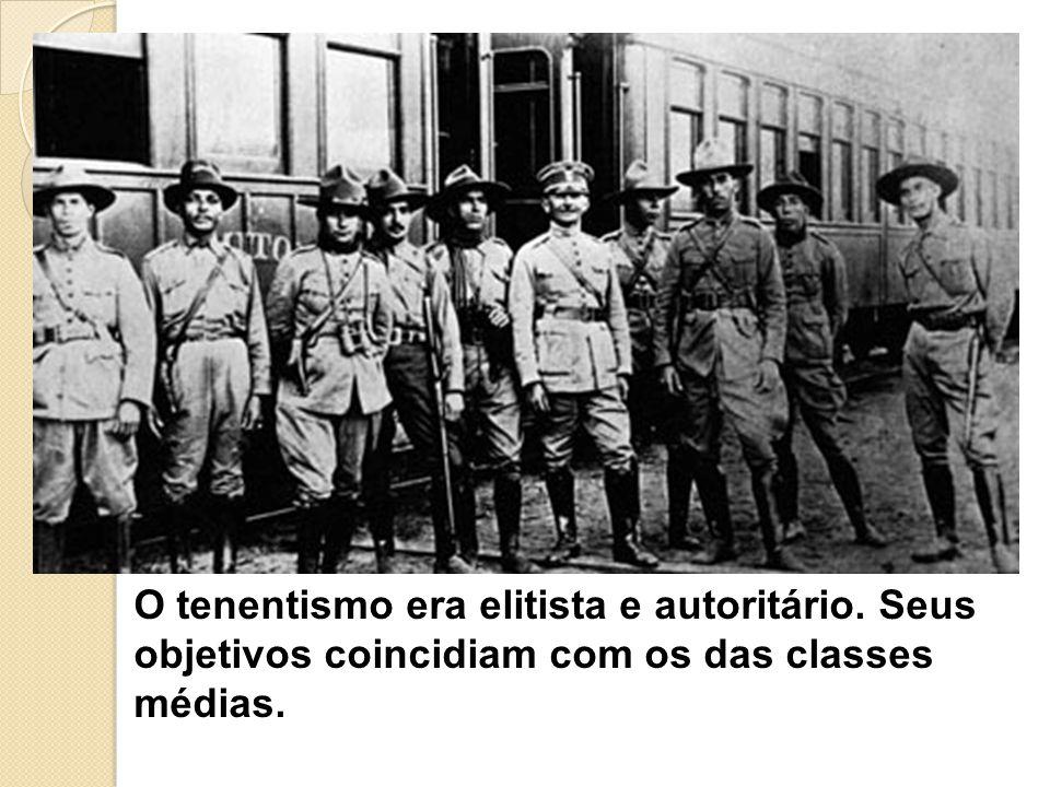 O tenentismo era elitista e autoritário. Seus objetivos coincidiam com os das classes médias.