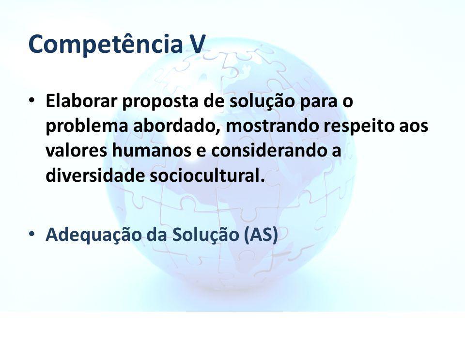 Competência V Elaborar proposta de solução para o problema abordado, mostrando respeito aos valores humanos e considerando a diversidade sociocultural