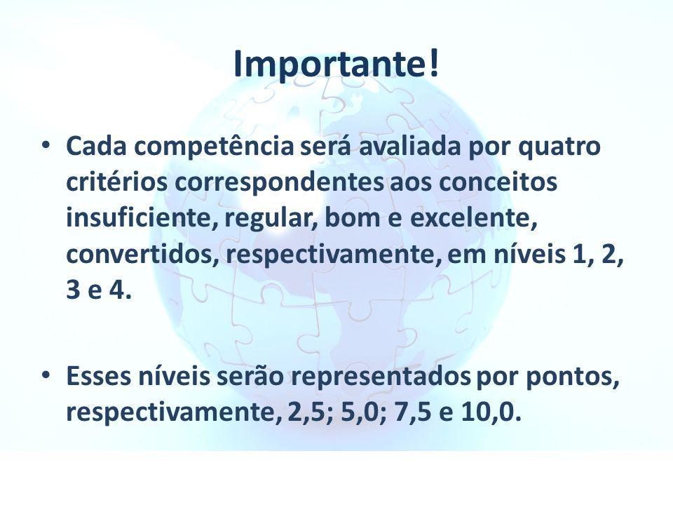 Importante! Cada competência será avaliada por quatro critérios correspondentes aos conceitos insuficiente, regular, bom e excelente, convertidos, res
