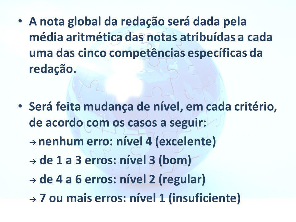 A nota global da redação será dada pela média aritmética das notas atribuídas a cada uma das cinco competências específicas da redação. Será feita mud