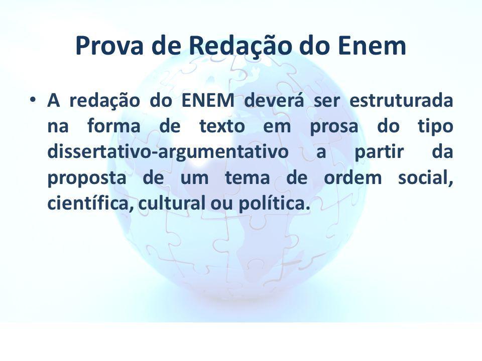 Prova de Redação do Enem A redação do ENEM deverá ser estruturada na forma de texto em prosa do tipo dissertativo-argumentativo a partir da proposta d