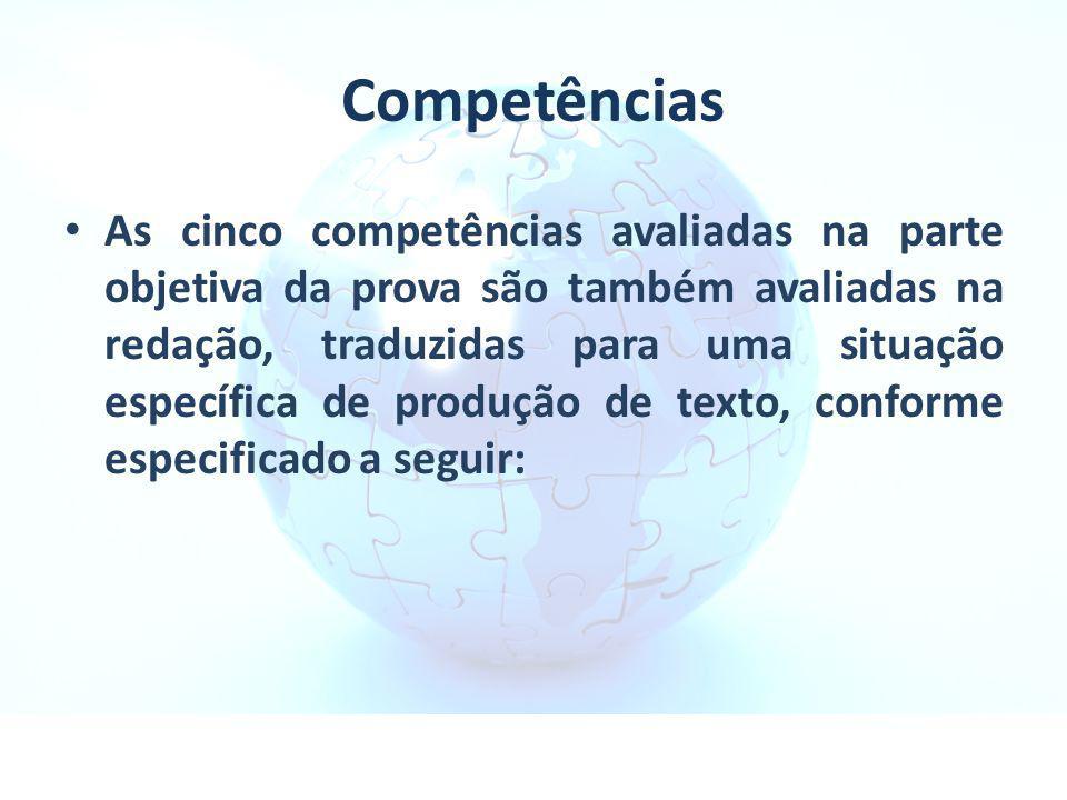 Competências As cinco competências avaliadas na parte objetiva da prova são também avaliadas na redação, traduzidas para uma situação específica de pr