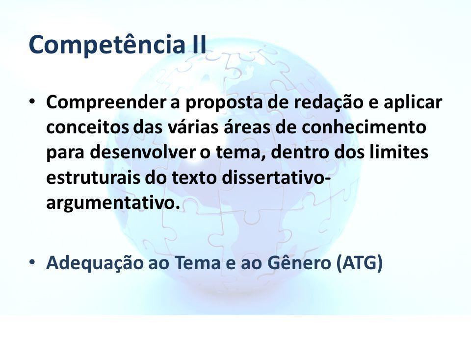 Competência II Compreender a proposta de redação e aplicar conceitos das várias áreas de conhecimento para desenvolver o tema, dentro dos limites estr
