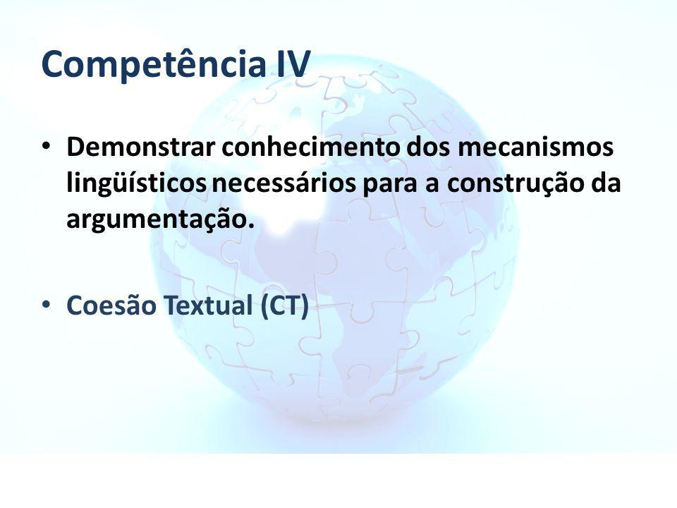 Competência IV Demonstrar conhecimento dos mecanismos lingüísticos necessários para a construção da argumentação. Coesão Textual (CT)