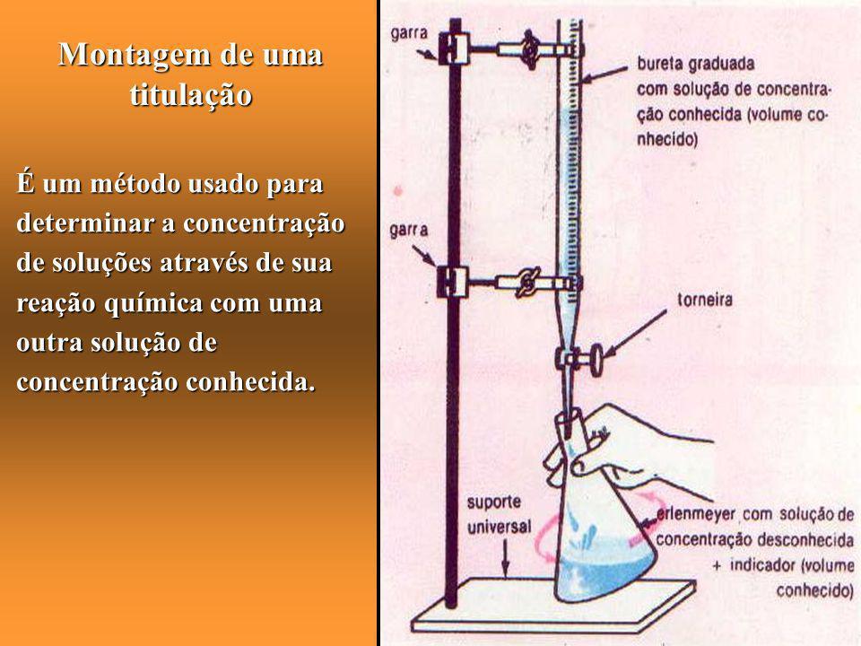 Montagem de uma titulação É um método usado para determinar a concentração de soluções através de sua reação química com uma outra solução de concentr