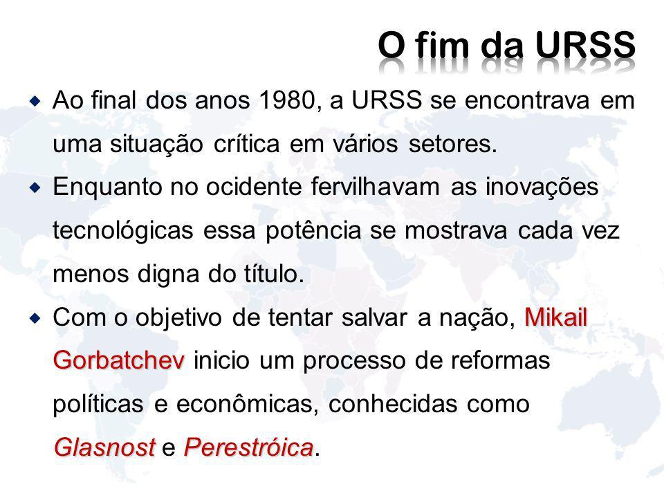 Ao final dos anos 1980, a URSS se encontrava em uma situação crítica em vários setores.