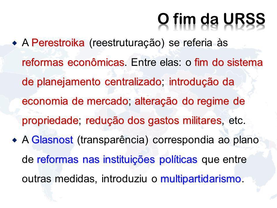 Perestroika reformas econômicasfim do sistema de planejamento centralizadointrodução da economia de mercadoalteração do regime de propriedaderedução dos gastos militares A Perestroika (reestruturação) se referia às reformas econômicas.