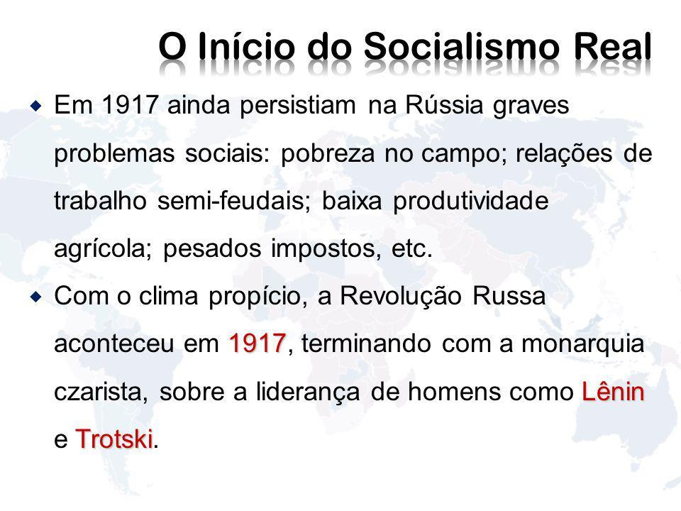 Em 1917 ainda persistiam na Rússia graves problemas sociais: pobreza no campo; relações de trabalho semi-feudais; baixa produtividade agrícola; pesados impostos, etc.