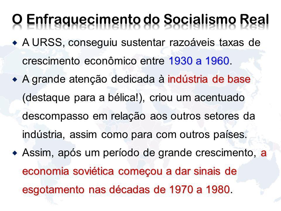 1930 a 1960 A URSS, conseguiu sustentar razoáveis taxas de crescimento econômico entre 1930 a 1960.