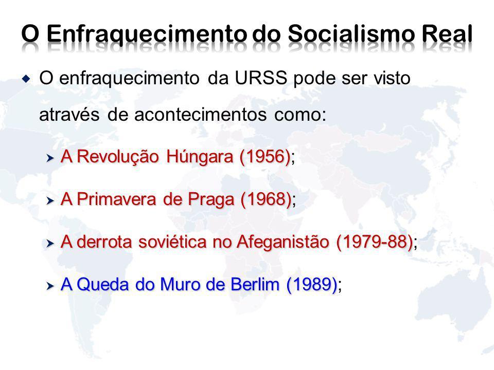 O enfraquecimento da URSS pode ser visto através de acontecimentos como: A Revolução Húngara (1956) A Revolução Húngara (1956); A Primavera de Praga (1968) A Primavera de Praga (1968); A derrota soviética no Afeganistão (1979-88) A derrota soviética no Afeganistão (1979-88); A Queda do Muro de Berlim (1989) A Queda do Muro de Berlim (1989);
