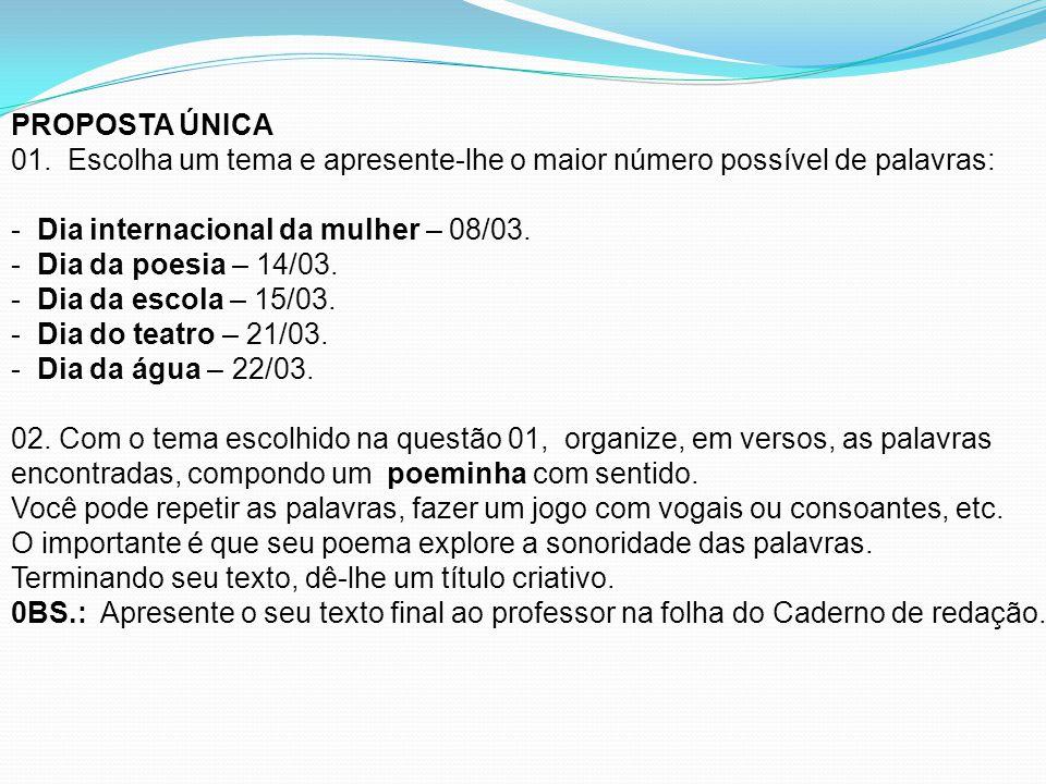 PROPOSTA ÚNICA 01.