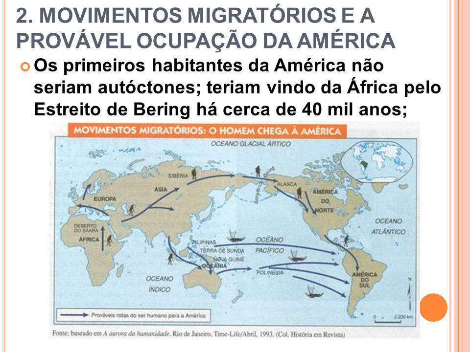 2. MOVIMENTOS MIGRATÓRIOS E A PROVÁVEL OCUPAÇÃO DA AMÉRICA Os primeiros habitantes da América não seriam autóctones; teriam vindo da África pelo Estre