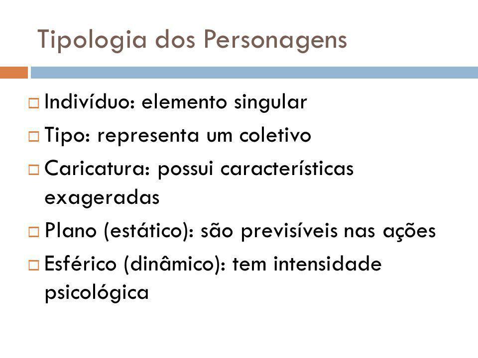 Tipologia dos Personagens Indivíduo: elemento singular Tipo: representa um coletivo Caricatura: possui características exageradas Plano (estático): sã