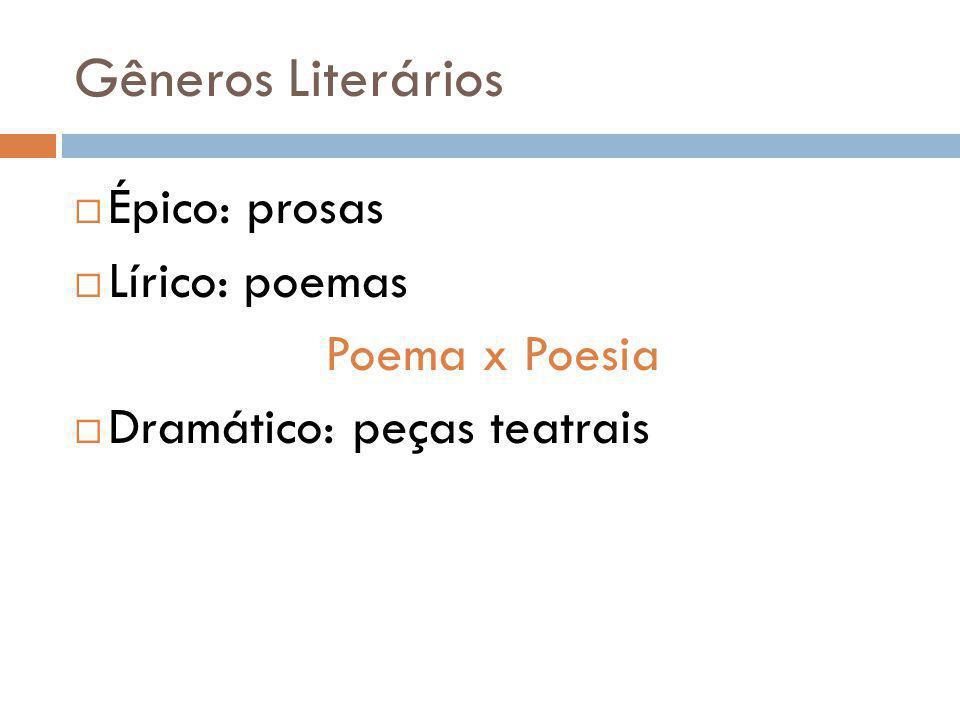 Gêneros Literários Épico: prosas Lírico: poemas Poema x Poesia Dramático: peças teatrais