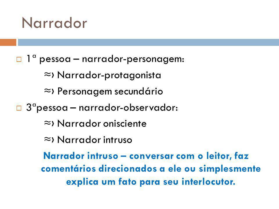 Narrador 1ª pessoa – narrador-personagem: Narrador-protagonista Personagem secundário 3ªpessoa – narrador-observador: Narrador onisciente Narrador int