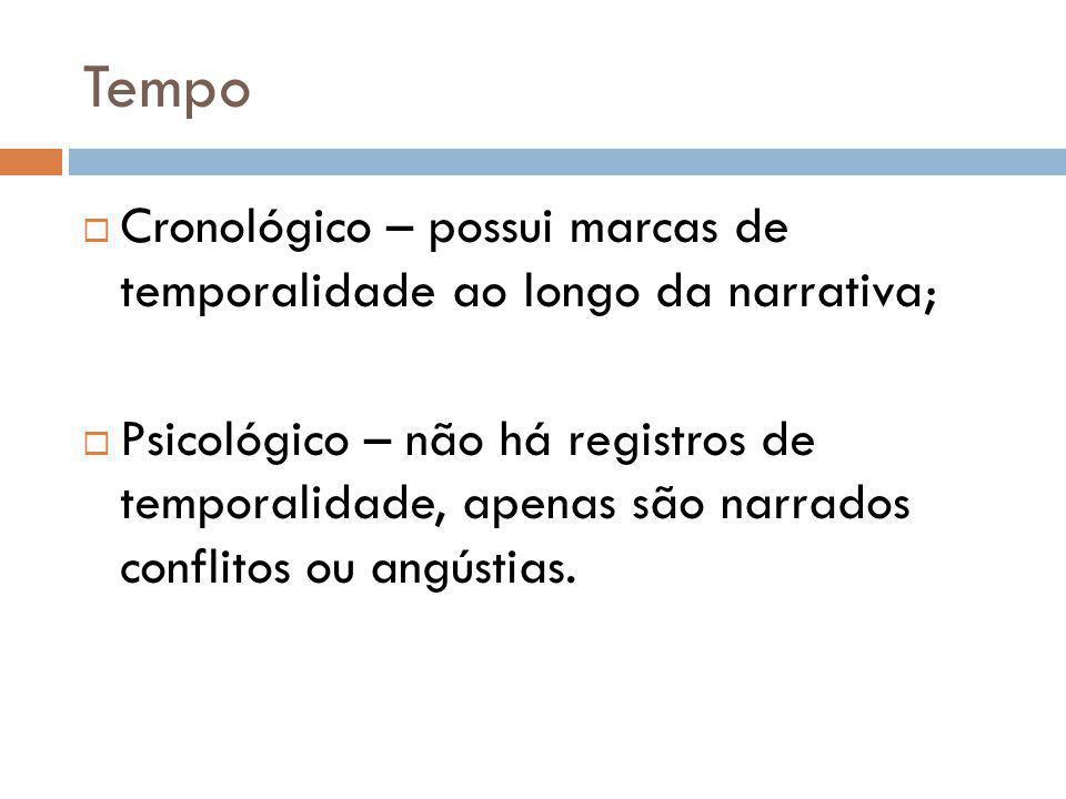 Tempo Cronológico – possui marcas de temporalidade ao longo da narrativa; Psicológico – não há registros de temporalidade, apenas são narrados conflit
