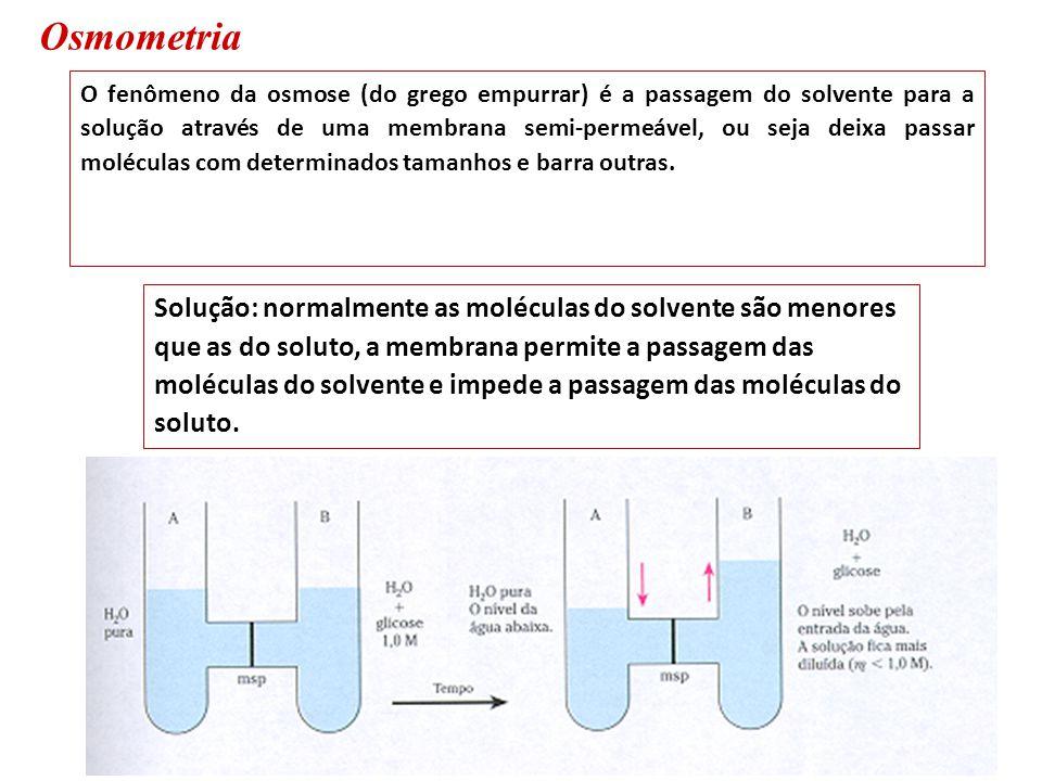 Osmometria O fenômeno da osmose (do grego empurrar) é a passagem do solvente para a solução através de uma membrana semi-permeável, ou seja deixa pass