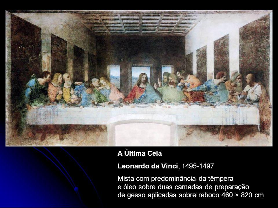 A Última Ceia Leonardo da Vinci, 1495-1497 Mista com predominância da têmpera e óleo sobre duas camadas de preparação de gesso aplicadas sobre reboco 460 × 820 cm