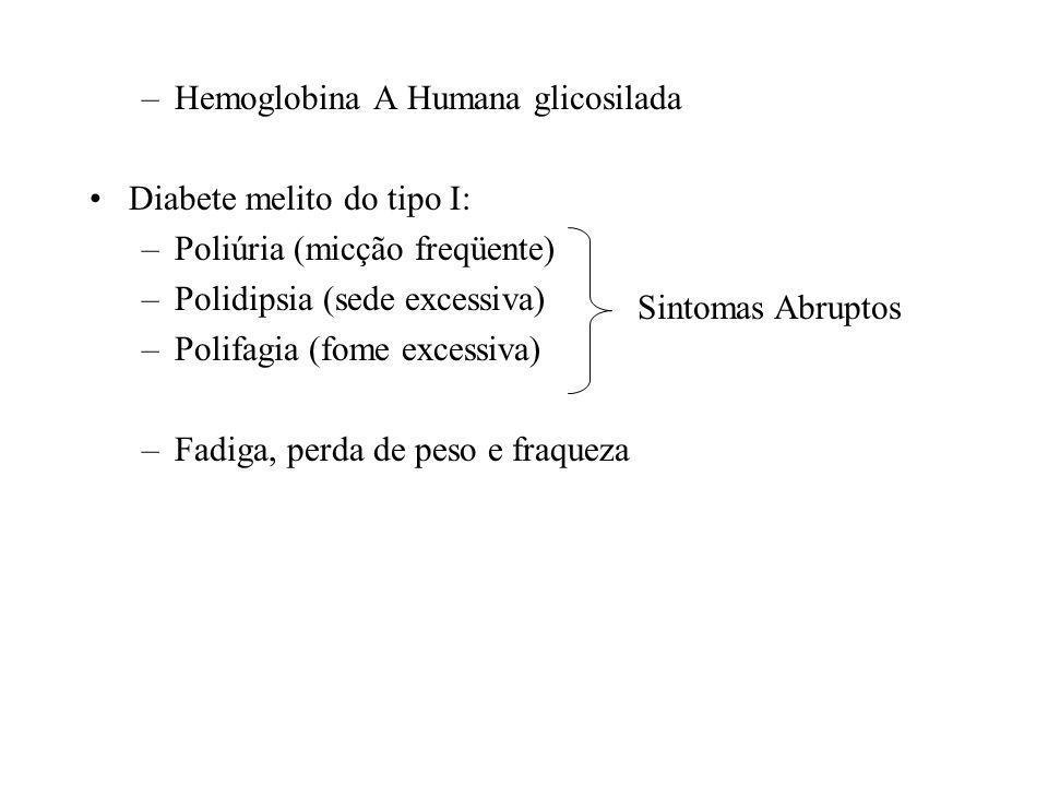 –Hemoglobina A Humana glicosilada Diabete melito do tipo I: –Poliúria (micção freqüente) –Polidipsia (sede excessiva) –Polifagia (fome excessiva) –Fadiga, perda de peso e fraqueza Sintomas Abruptos