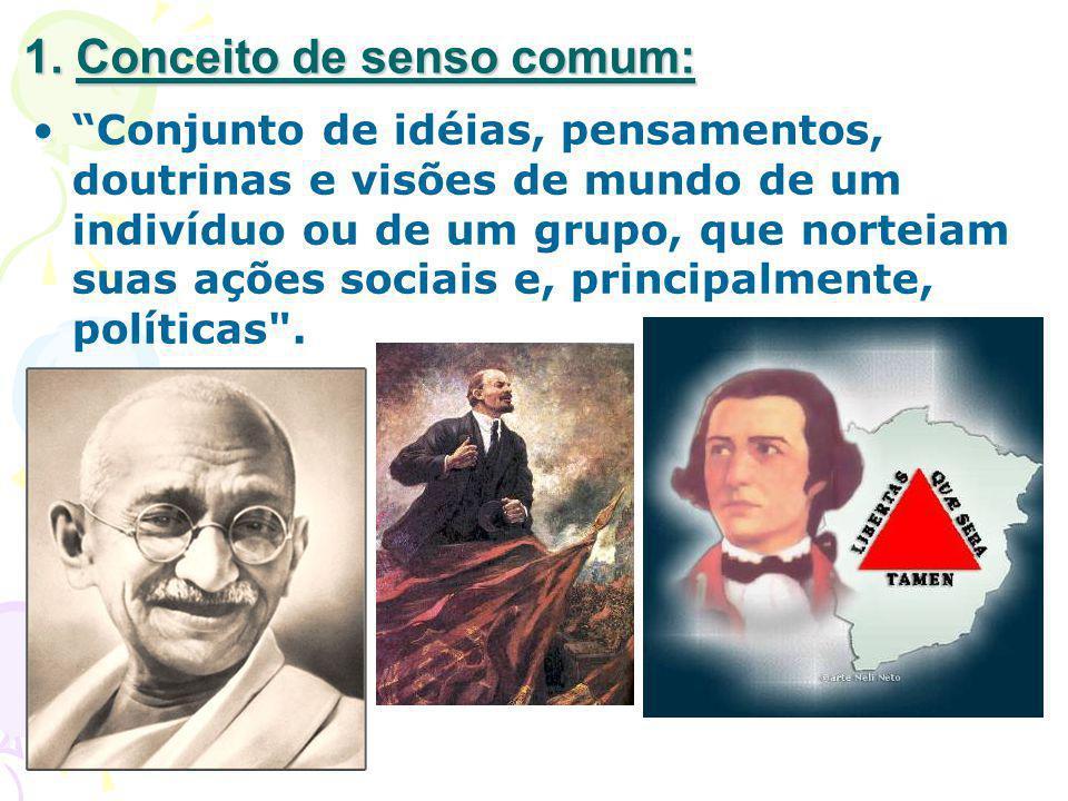 1. Conceito de senso comum: Conjunto de idéias, pensamentos, doutrinas e visões de mundo de um indivíduo ou de um grupo, que norteiam suas ações socia