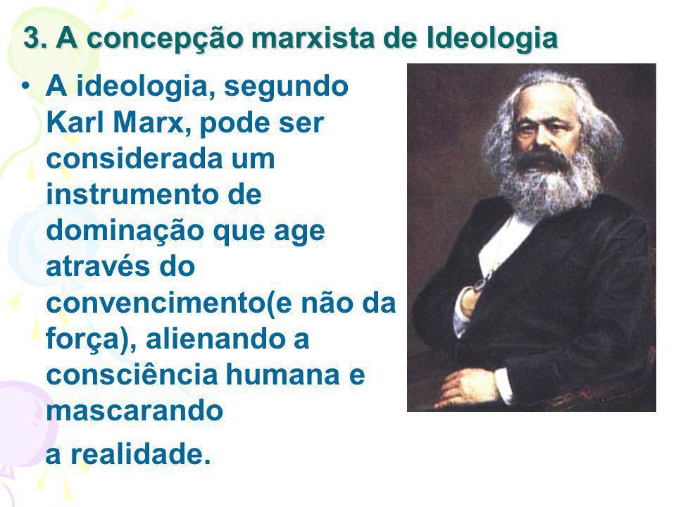 3. A concepção marxista de Ideologia A ideologia, segundo Karl Marx, pode ser considerada um instrumento de dominação que age através do convencimento