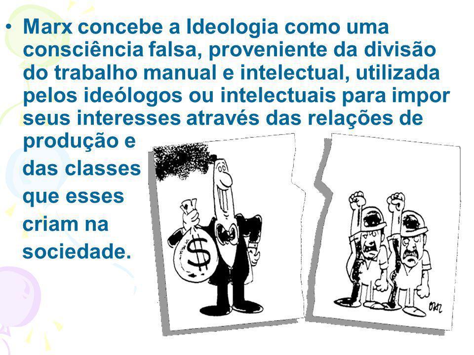 Marx concebe a Ideologia como uma consciência falsa, proveniente da divisão do trabalho manual e intelectual, utilizada pelos ideólogos ou intelectuai