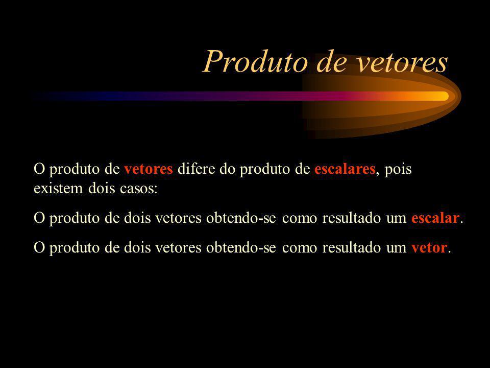 Produto de vetores O produto de vetores difere do produto de escalares, pois existem dois casos: O produto de dois vetores obtendo-se como resultado u