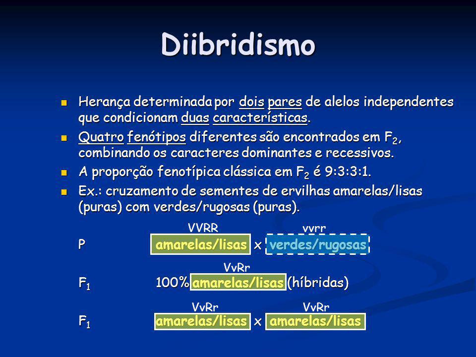 Diibridismo Herança determinada por dois pares de alelos independentes que condicionam duas características. Herança determinada por dois pares de ale