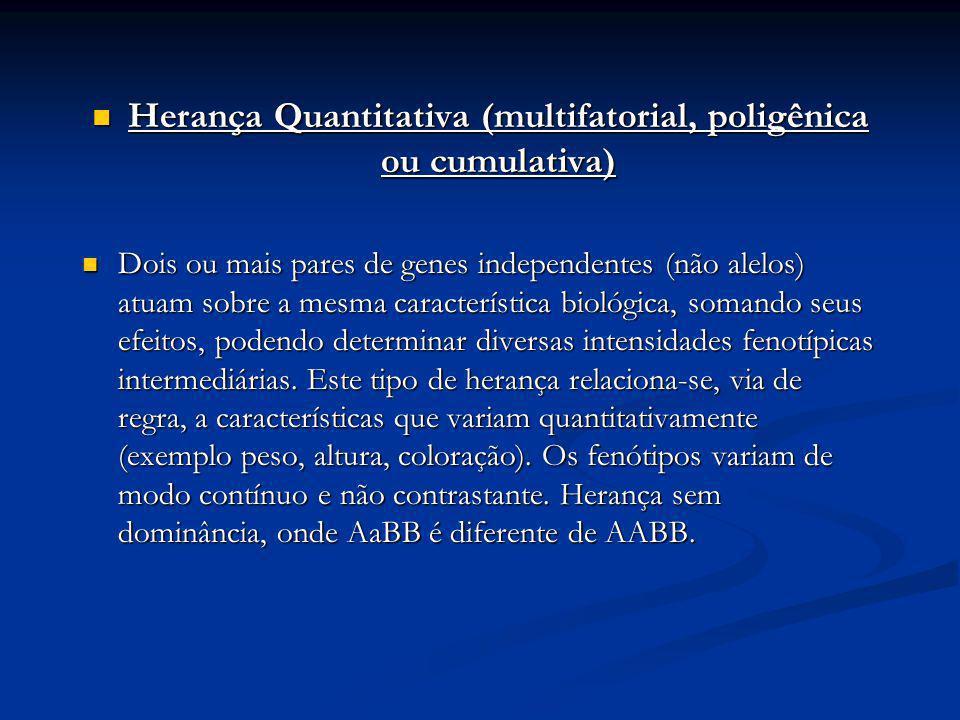 Herança Quantitativa (multifatorial, poligênica ou cumulativa) Herança Quantitativa (multifatorial, poligênica ou cumulativa) Dois ou mais pares de ge