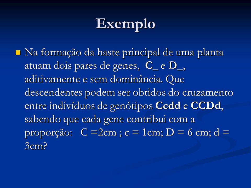 Exemplo Na formação da haste principal de uma planta atuam dois pares de genes, C_ e D_, aditivamente e sem dominância. Que descendentes podem ser obt
