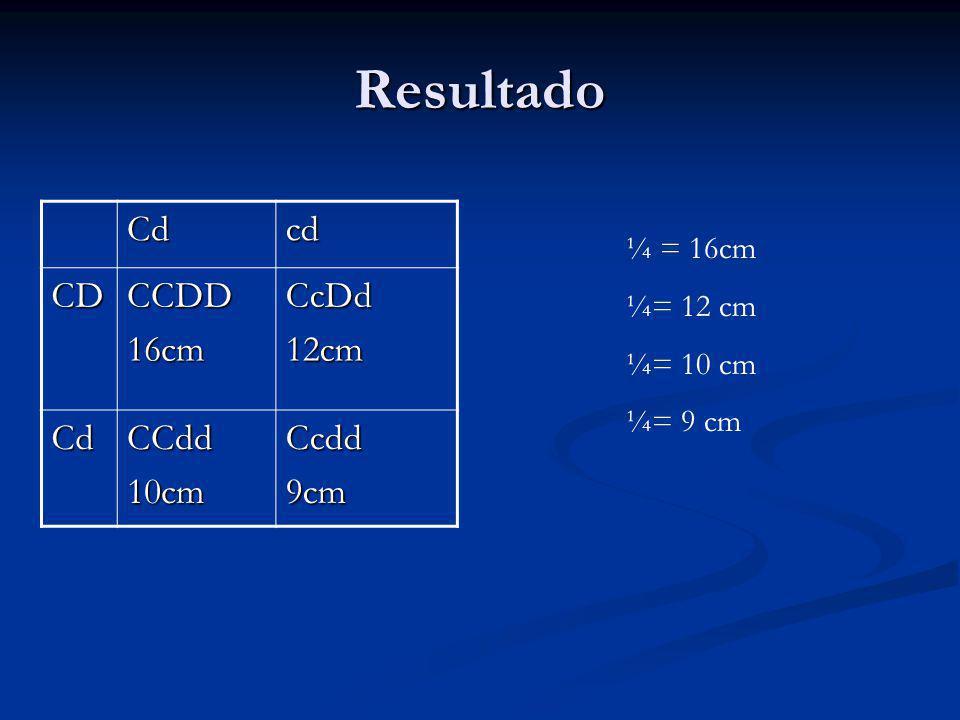 Resultado Cdcd CDCCDD16cmCcDd12cm CdCCdd10cmCcdd9cm ¼ = 16cm ¼= 12 cm ¼= 10 cm ¼= 9 cm