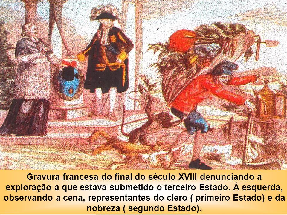 IDADE CONTEMPORÂNEA A REVOLUÇÃO FRANCESA Gravura francesa do final do século XVIII denunciando a exploração a que estava submetido o terceiro Estado.