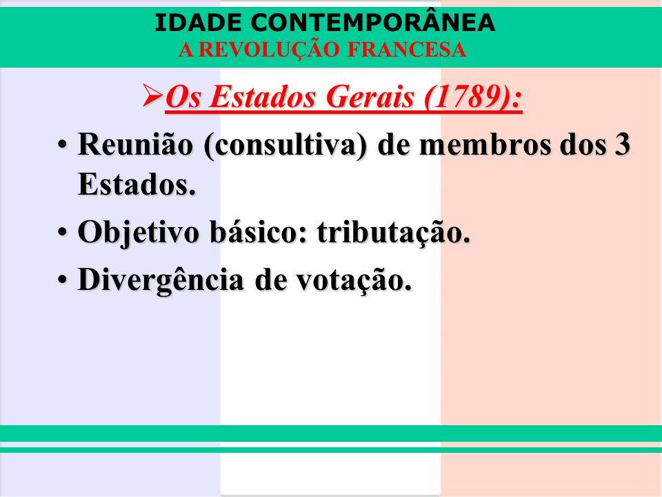 IDADE CONTEMPORÂNEA A REVOLUÇÃO FRANCESA Os Estados Gerais (1789): Os Estados Gerais (1789): Reunião (consultiva) de membros dos 3 Estados.Reunião (co