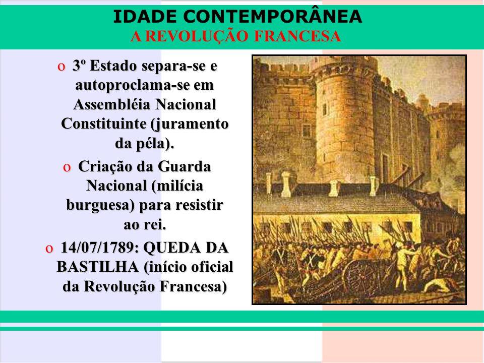 IDADE CONTEMPORÂNEA A REVOLUÇÃO FRANCESA o3º Estado separa-se e autoproclama-se em Assembléia Nacional Constituinte (juramento da péla). oCriação da G