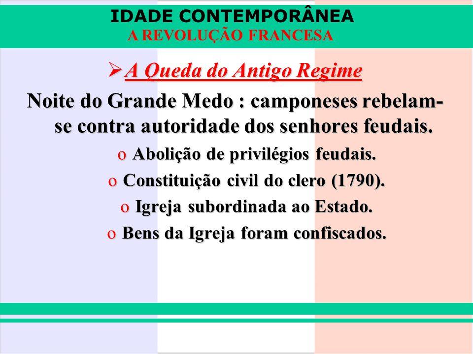 IDADE CONTEMPORÂNEA A REVOLUÇÃO FRANCESA A Queda do Antigo Regime A Queda do Antigo Regime Noite do Grande Medo : camponeses rebelam- se contra autori