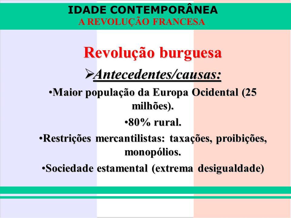 IDADE CONTEMPORÂNEA A REVOLUÇÃO FRANCESA Revolução burguesa Antecedentes/causas: Antecedentes/causas: Maior população da Europa Ocidental (25 milhões)