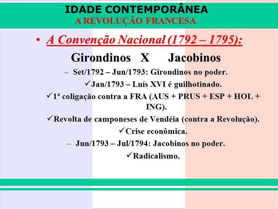 IDADE CONTEMPORÂNEA A REVOLUÇÃO FRANCESA A Convenção Nacional (1792 – 1795):A Convenção Nacional (1792 – 1795): GirondinosXJacobinos –Set/1792 – Jun/1