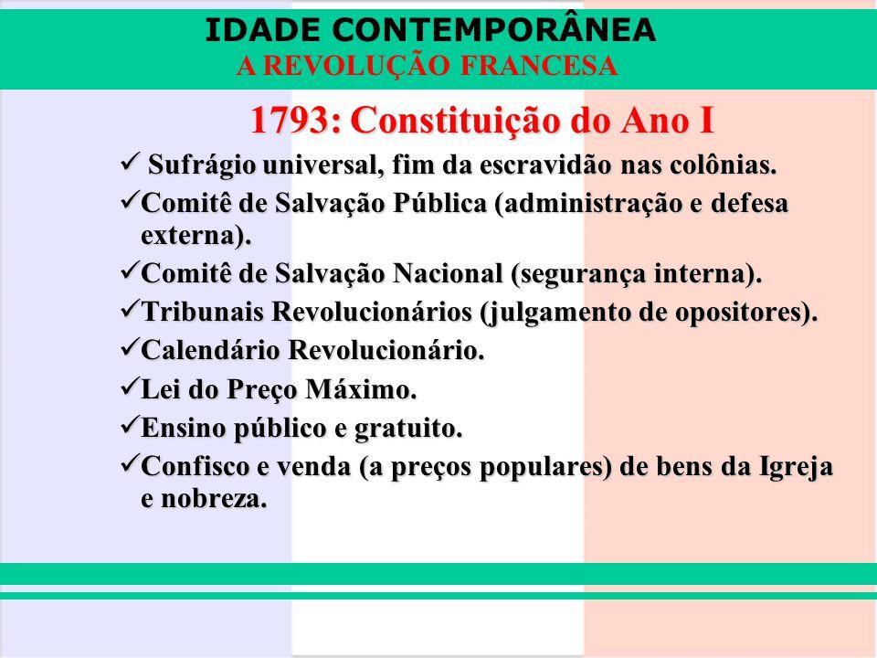 IDADE CONTEMPORÂNEA A REVOLUÇÃO FRANCESA 1793: Constituição do Ano I Sufrágio universal, fim da escravidão nas colônias. Sufrágio universal, fim da es