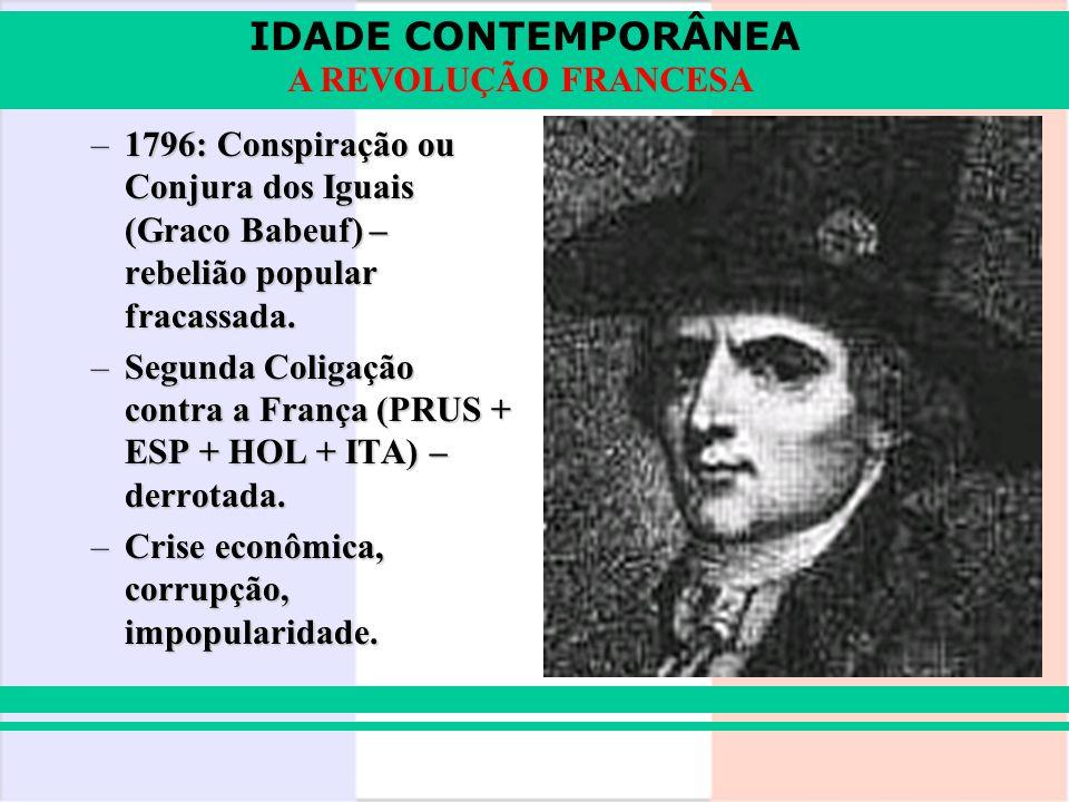 IDADE CONTEMPORÂNEA A REVOLUÇÃO FRANCESA –1796: Conspiração ou Conjura dos Iguais (Graco Babeuf) – rebelião popular fracassada. –Segunda Coligação con