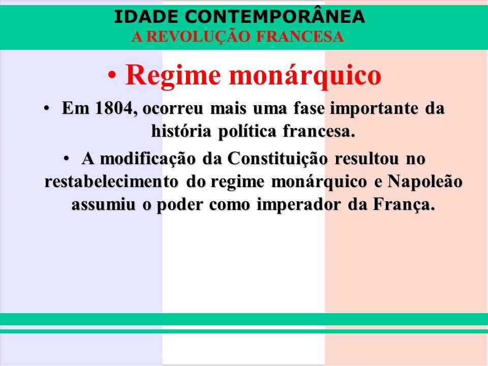 IDADE CONTEMPORÂNEA A REVOLUÇÃO FRANCESA Regime monárquico Em 1804, ocorreu mais uma fase importante da história política francesa.Em 1804, ocorreu ma