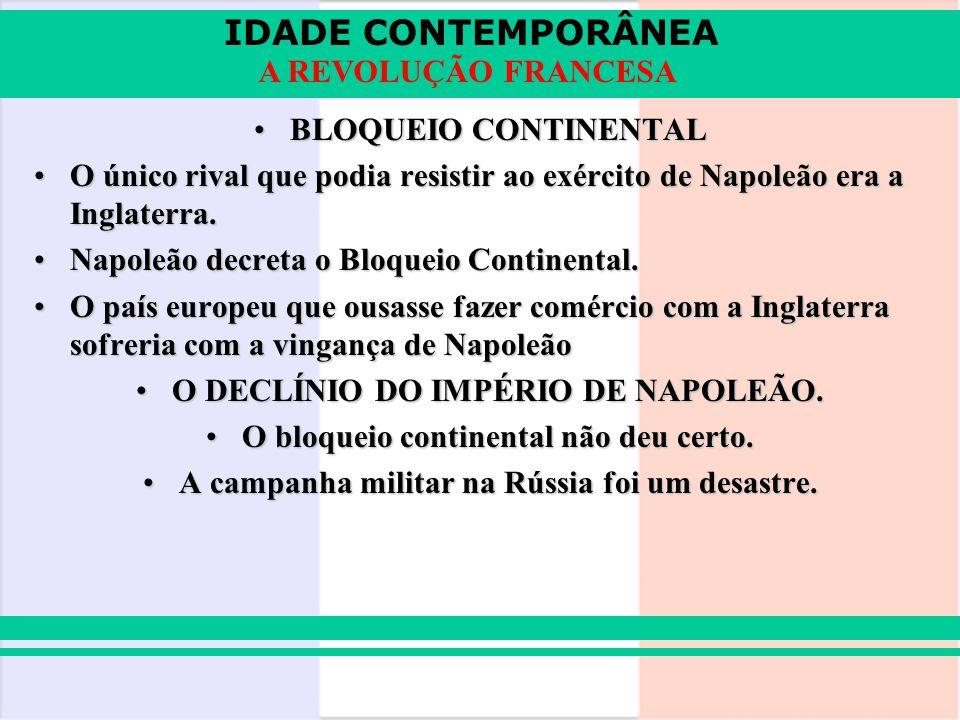 IDADE CONTEMPORÂNEA A REVOLUÇÃO FRANCESA BLOQUEIO CONTINENTALBLOQUEIO CONTINENTAL O único rival que podia resistir ao exército de Napoleão era a Ingla