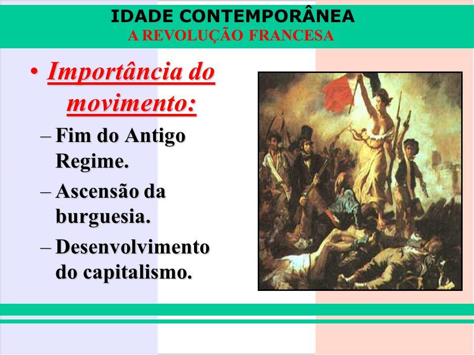 IDADE CONTEMPORÂNEA A REVOLUÇÃO FRANCESA Importância do movimento:Importância do movimento: –Fim do Antigo Regime. –Ascensão da burguesia. –Desenvolvi