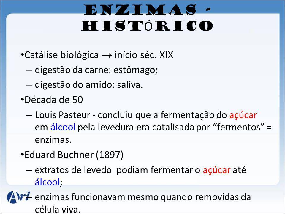 ENZIMAS - HIST Ó RICO Catálise biológica início séc. XIX – digestão da carne: estômago; – digestão do amido: saliva. Década de 50 – Louis Pasteur - co