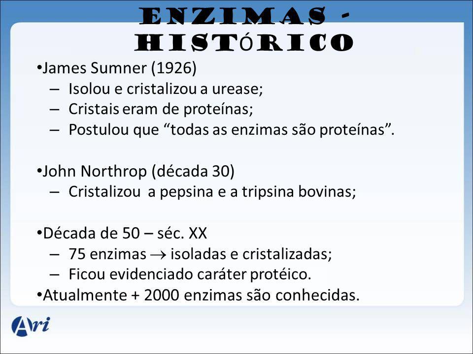ENZIMAS - HIST Ó RICO James Sumner (1926) – Isolou e cristalizou a urease; – Cristais eram de proteínas; – Postulou que todas as enzimas são proteínas