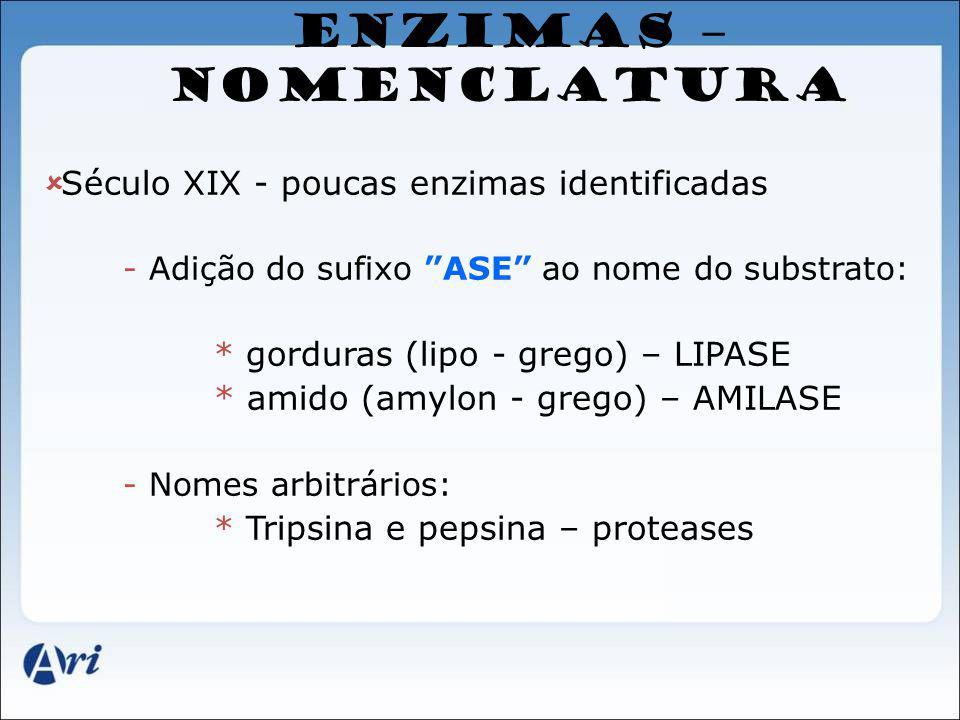 ENZIMAS – NOMENCLATURA Século XIX - poucas enzimas identificadas - Adição do sufixo ASE ao nome do substrato: * gorduras (lipo - grego) – LIPASE * ami