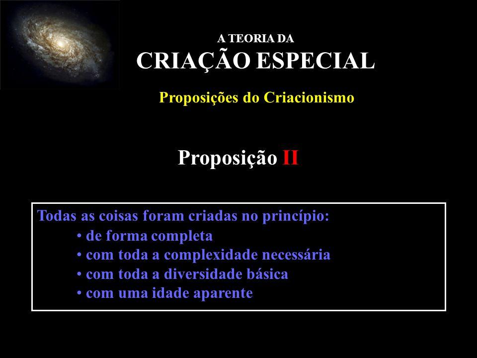 Proposição II A TEORIA DA CRIAÇÃO ESPECIAL Proposições do Criacionismo Todas as coisas foram criadas no princípio: de forma completa com toda a comple