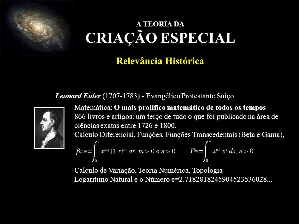Leonard Euler (1707-1783) - Evangélico Protestante Suíço Matemática: O mais prolífico matemático de todos os tempos 866 livros e artigos: um terço de
