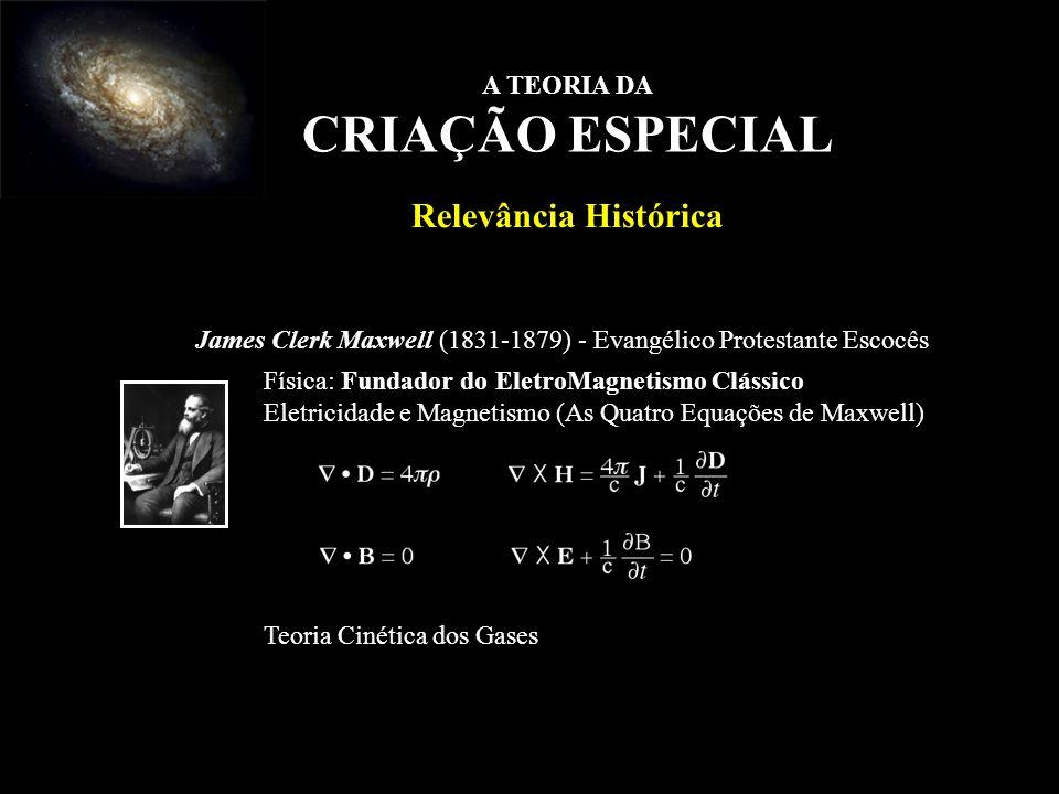 James Clerk Maxwell (1831-1879) - Evangélico Protestante Escocês Física: Fundador do EletroMagnetismo Clássico Eletricidade e Magnetismo (As Quatro Eq